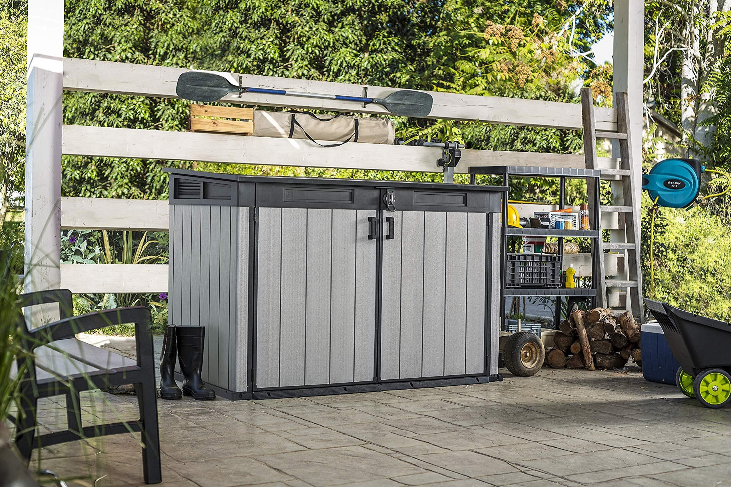 Koll Living Geräteschrank/Gerätehaus (2100 Liter) für z.B Gartenutensilien, 2 Fahrräder, 3 Mülltonnen – Belüftet Daher Keine Schimmelbildung – DUOTECH Technologie
