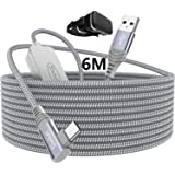 Siwket Oculus Quest 2 Link Cable 6M, USB to USB Type C Cable Braided 90 Degree with Signal Booster 5Gbps Fast Data Transfer U