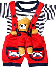 SAS Baby Girl Baby Boys Dungaree Set for Kids,a Fashioned Product (RED, 18-24 Months)