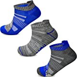3 Pairs Mens Running Ankle Trainer Socks Low Cut Compression Arch Support Anti Blister Cushion Athletic Sports Liner Size 6-1