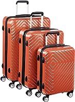 AmazonBasics – Trolley mit geometrischem Muster, 3-teiliges Set (55 cm, 68 cm, 78 cm), Abendrot