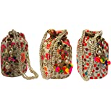 Filora Women's Potli (Set of 3) (Combo of 3 Potlis 02-Red, 07 and 09_Multicolored)