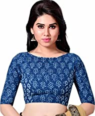 STUDIO SHRINGAAR LATEST PURE COTTON BLUE JAIPURI BLOCK PRINTED WOMENS SAREE BLOUSE WITH BOAT NECK AND ELBOW LENGTH SLEEVES