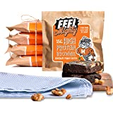 Feel Mighty High Protein Brownies- Pack of 5 Low Carb, Low Calorie, High Fiber, Sugar-Free Chocolate Peanut Butter…