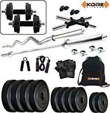 """Kore 20 Kg (PVC/Rubber) Combo 2 Home Gym Kit with one 5 Ft Plain + One 3 Ft Curl + 2 x 14"""" Dumbbell Rods with Gym Accessories"""