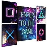 decomonkey Bilder Play Game 110x80 cm 5 Teilig Leinwandbilder Bild auf Leinwand Vlies Wandbild Kunstdruck Wanddeko Wand Wohnz