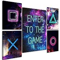 decomonkey Bilder Play Game 110x80 cm 5 Teilig Leinwandbilder Bild auf Leinwand Vlies Wandbild Kunstdruck Wanddeko Wand…