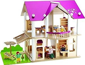 Eichhorn 100002513 - Puppenvilla inkl. 4 Puppen und Möbeln, 27-tlg., 50x75x55cm, Kiefernholz
