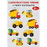 WoW Party Studio Construction 1ft Cardstock Cutouts for Happy Birthday Decorations - 8Pcs