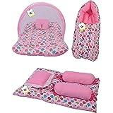 Toddylon New Born Baby Mosquito Net Bedding Set Sleeping Bag and Gaddi Set (0-6 Months Pink)
