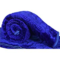 Goyal's Floral Embossed Supersoft for Winter Heavy Double Bed Mink Blanket/Quilt (Rajai) - Blue