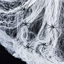 2 Spinnennetze inkl. 12 Spinnen Halloween Deko Lights4fun