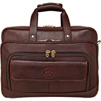 DA Leather Villa Leather Laptop Bags for Men Office Use with Expandable Size Color (Brown) (Croc Brown)
