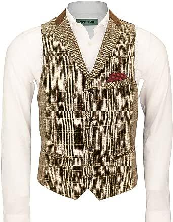 Mens Brown Herringbone Check 3 Piece Suit Sold Separate Blazer Trouser Waistcoat