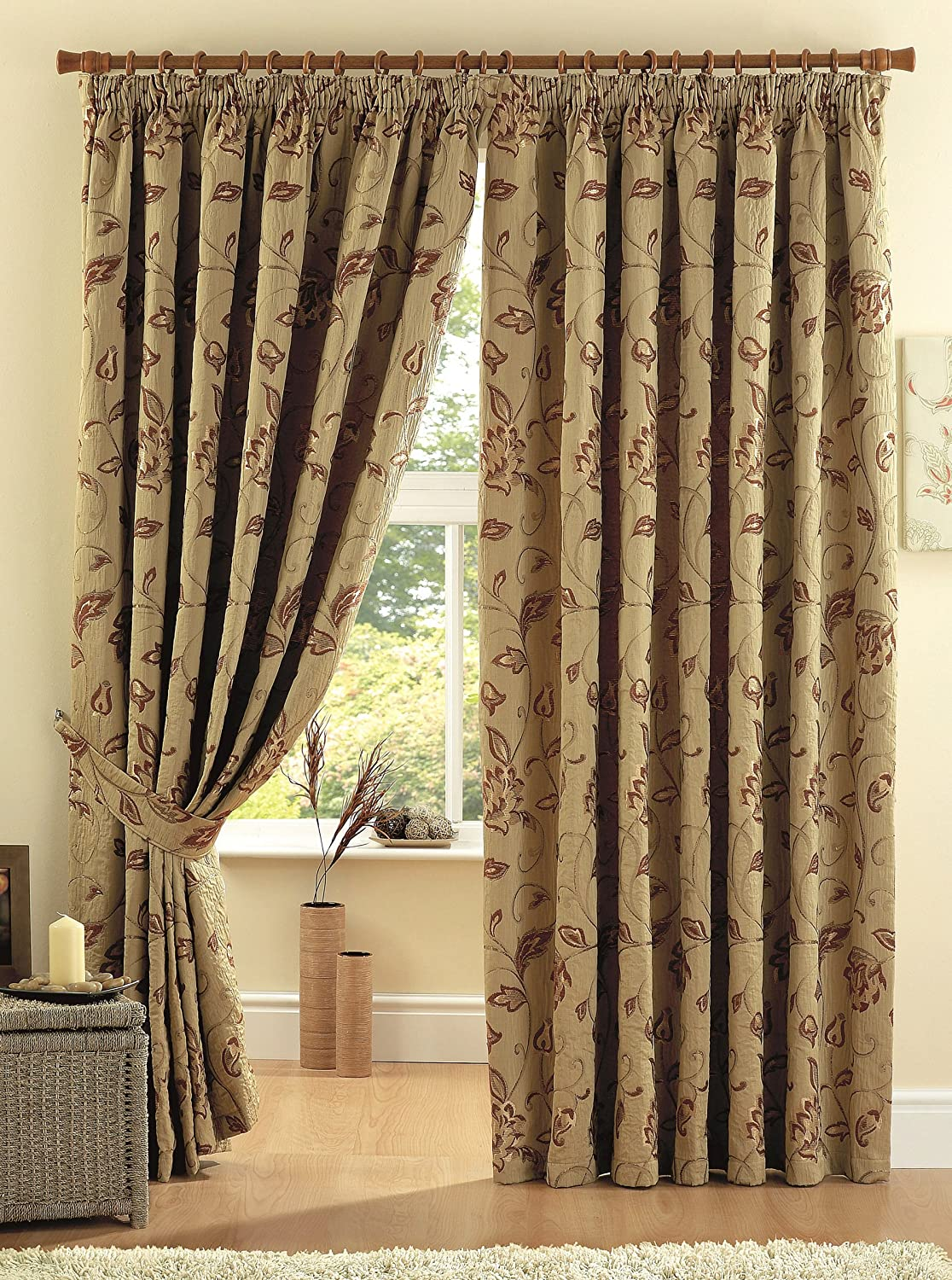 One Pair Of Maybury Pencil Pleat 3 Header Curtains In Terracotta Size 90x90 229 X Cm Width Drop Amazoncouk Kitchen Home