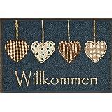wash+dry Deurmat Cottage Hearts, 50x75 cm, binnen en buiten, wasbaar, blauw