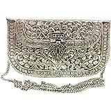 Trend Overseas White Metal clutches Vintage Handmade Brass purse bridal women party clutch Antique