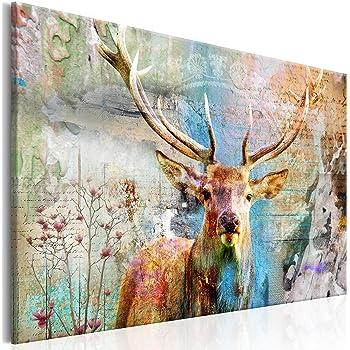 decomonkey Bilder Hirsch 120x80 cm Leinwandbilder Bild auf