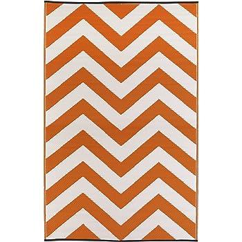 Fab Hab - Laguna - Orangenschale & Weiß - Teppich/ Matte für den Innen- und Außenbereich (120 cm x 180 cm)