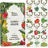 OwnGrown zestaw nasion warzyw, 12 rodzajów materiału siewnego, warzyw w ogrodzie lub podwyższonej grządce, asortyment nasion.