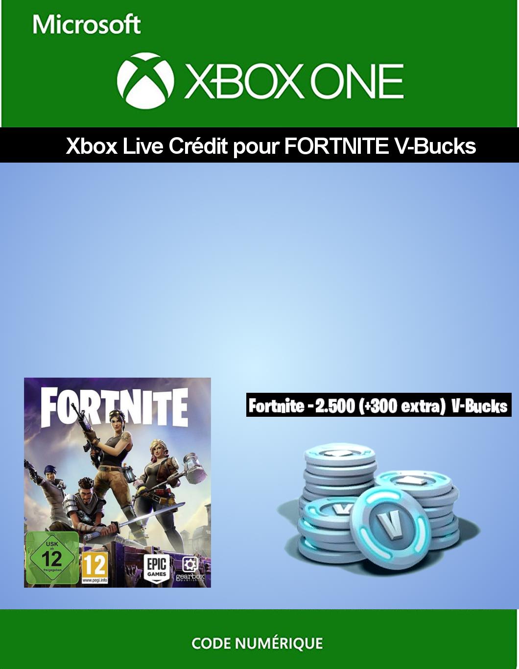 Xbox Live Guthaben für Fortnite - 2.500 V-Bucks + 300 extra V-Bucks   Xbox One - Download Code [PC Code - Kein DRM]