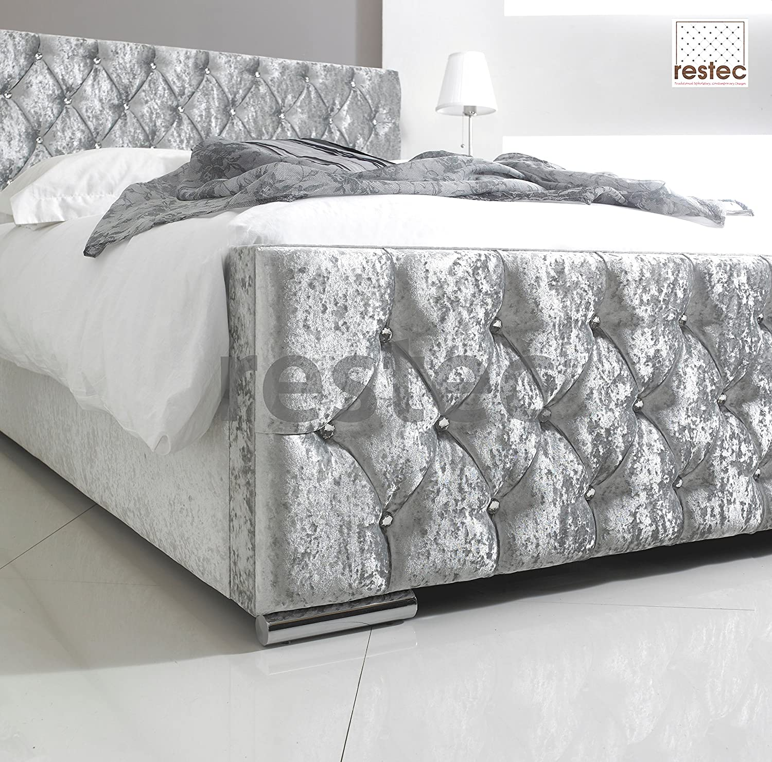 florida upholstered silver crush velvet bed frame in different size available 3ft bed frame by comfycraft amazoncouk kitchen u0026 home