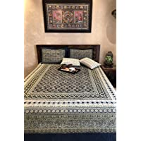 Ajrakh Bedsheet | 90 x 108 inches with Pillow Covers| 100% Cotton | Hand Block Printed (Green & Indigo Blue)