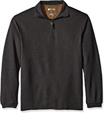 Haggar Men's Long Sleeve Hi-Definition Ottoman Knit Zip Neck with Faux Suede Trim
