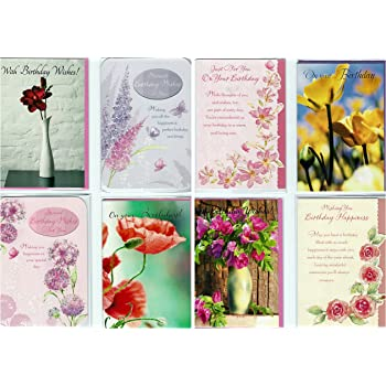 16 Assorted Traditional Old Fashioned Floral Design Birthday Cards
