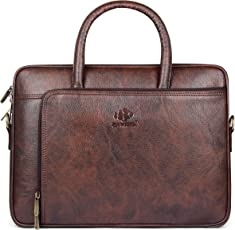 The Clownfish Patron Series Laptop Briefcase|15.6 inch Laptop Bag| Messenger Bag|Office Bag (Mahogany)
