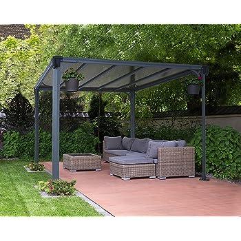 leco hochwertiger lamellenpergola in edlem anthrazit und lichtgrau solide. Black Bedroom Furniture Sets. Home Design Ideas