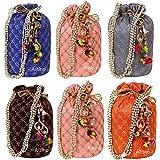 Ailtino Women's Ethnic Rajasthani Silk Potli Bag Mix Color (Multicolour) -Combo of 6