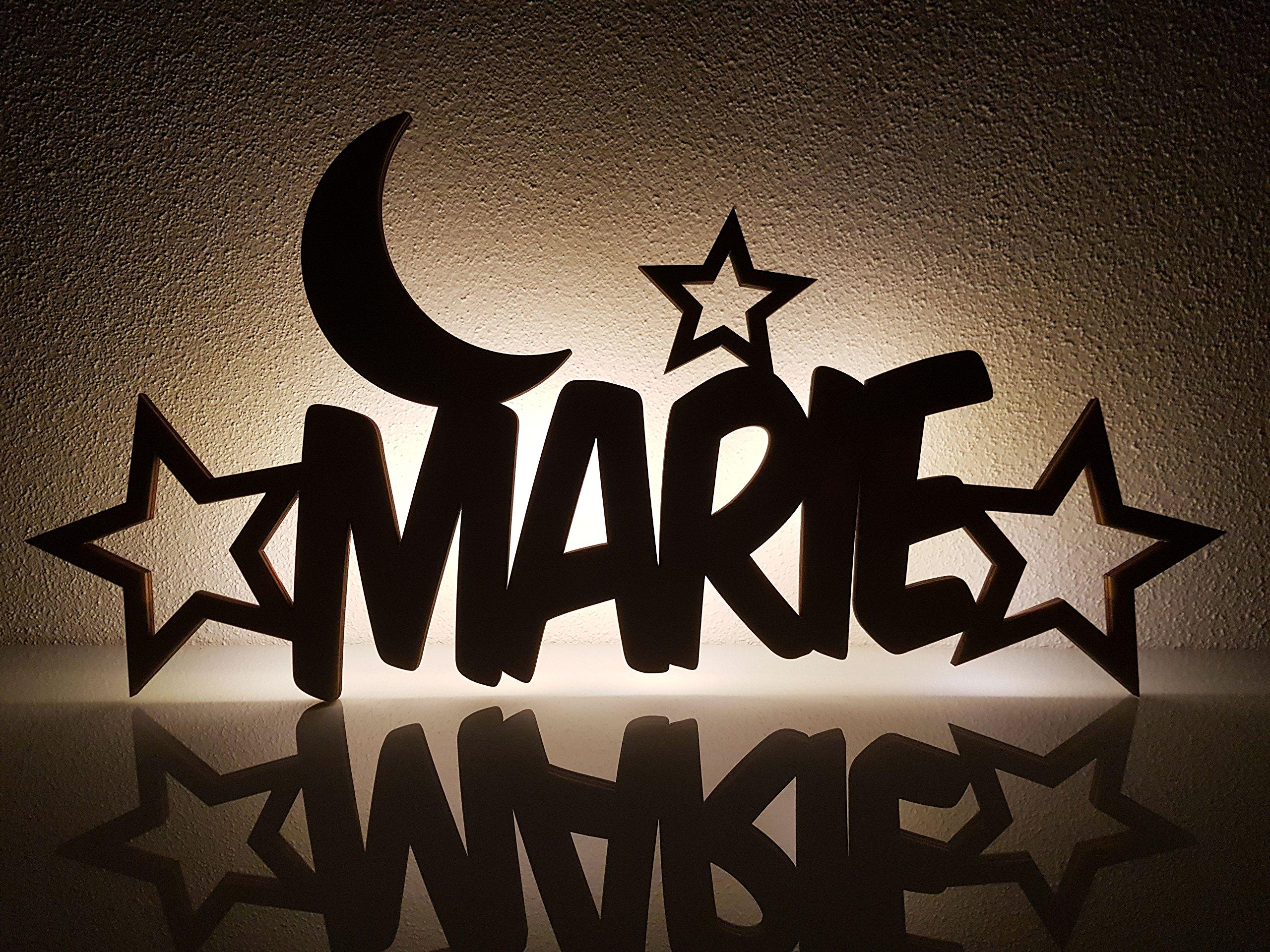 """Schlummerlicht/Nachtlicht""""Mond und Sterne"""" - personalisiert mit Namen - Optional mit Zugschalter und/oder Lackierung 10"""