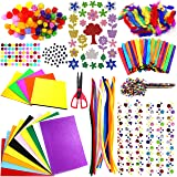 Jhintemetic® - DIY Art Craft Kit for Kids Creative Pompoms Pipe Cleaners Feather Foam Flowers Letters Crystal Sticker Felt Wi