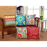 RD TREND 3D Printed Jute Cushion Covers Set of 5-16 x 16 inch (RED)