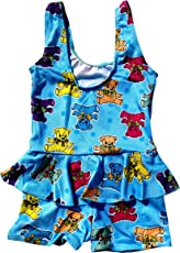 AURION Girl's Poly Cotton 1 Piece Swimsuit (Blue, 3-4 Years)