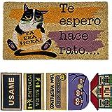 LucaHome - Felpudo de Coco Natural 70x40 con Base Antideslizante, Felpudo de Coco Divertido Te espero Hace rato,Felpudo Absor