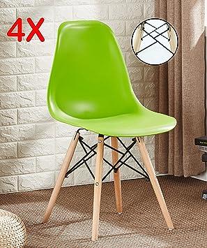 Pu0026N Homewares® SET OF 4 Romano DS Moda Chair Plastic Wood Retro Dining  Chairs White Black Grey Red Yellow Pink Green Blue (GREEN): Amazon.co.uk:  Kitchen U0026 ...