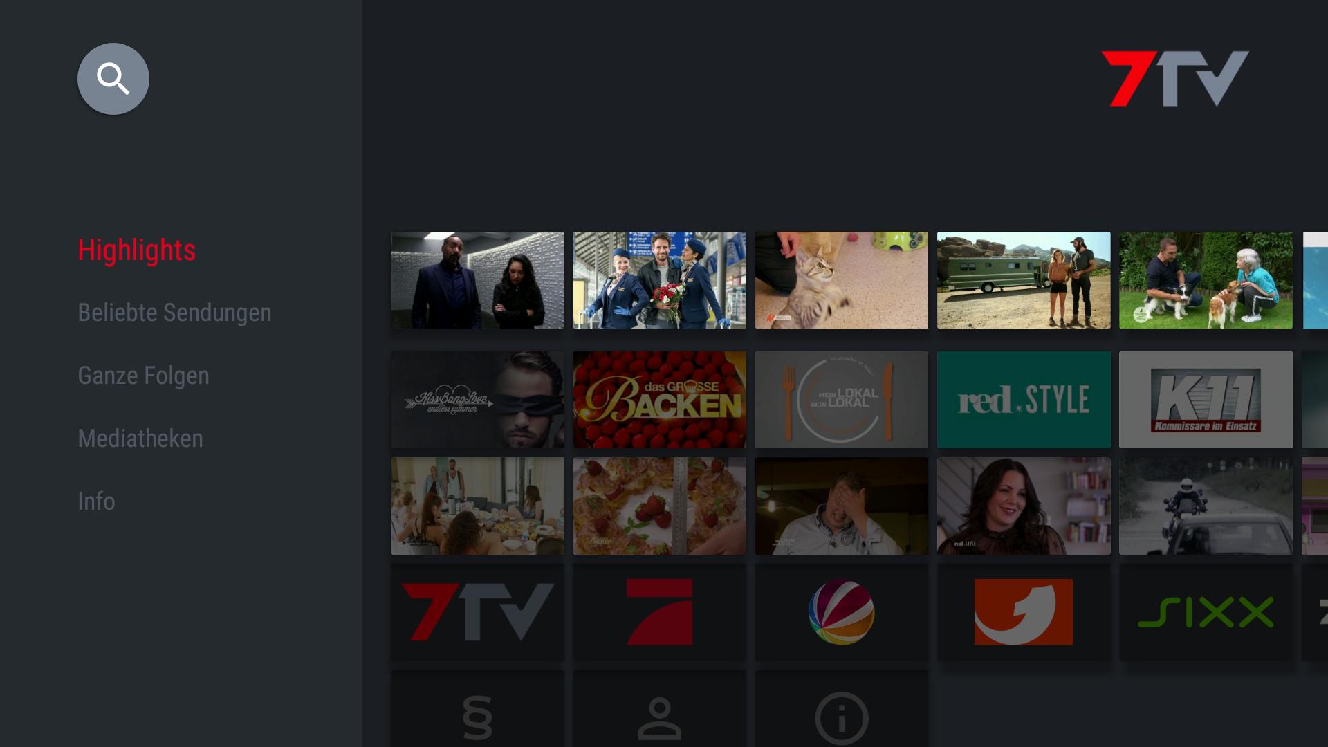 7TV - Mediathek Screenshot