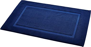AmazonBasics Banded Bathroom Bath Rug Mat - 20 x 31 Inch, Navy Blue