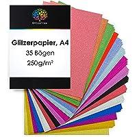OfficeTree Papier Pailleté A4 - Papier Paillette 15 Couleurs - 35 Feuilles de 250 g/m² - Carton Scintllant pour Bricoler…