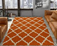 Ottomanson Ultimate Shaggy Collection Moroccan Trellis Design Shag Rug Contemporary Bedroom and Living room Soft Shag Rugs, O