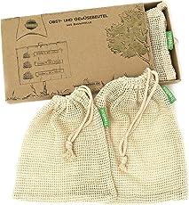 TreeBox Wiederverwendbare Obst- und Gemüsebeutel aus Baumwolle - 3er Set - mit Gewichtsangabe - Überaus Robust und Langlebig - Umweltfreundliche Einkaufsnetze