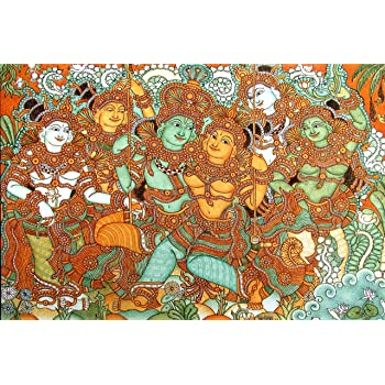 Krishna And Radha On The Swing-Kerala Mural Art(Unframed Canvas Prints)- 60 CM x 40 CM