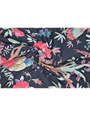 Mudit Crafts Cotton Jaipuri Handmade Bird Printed Dress Running Fabric (Black, 2.5 m)