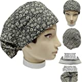 Scrub hat theatre cap BLACK FLOWERS for Long Hair with sweatband and ajutable to your liking Nurse Veterinary Dentist…