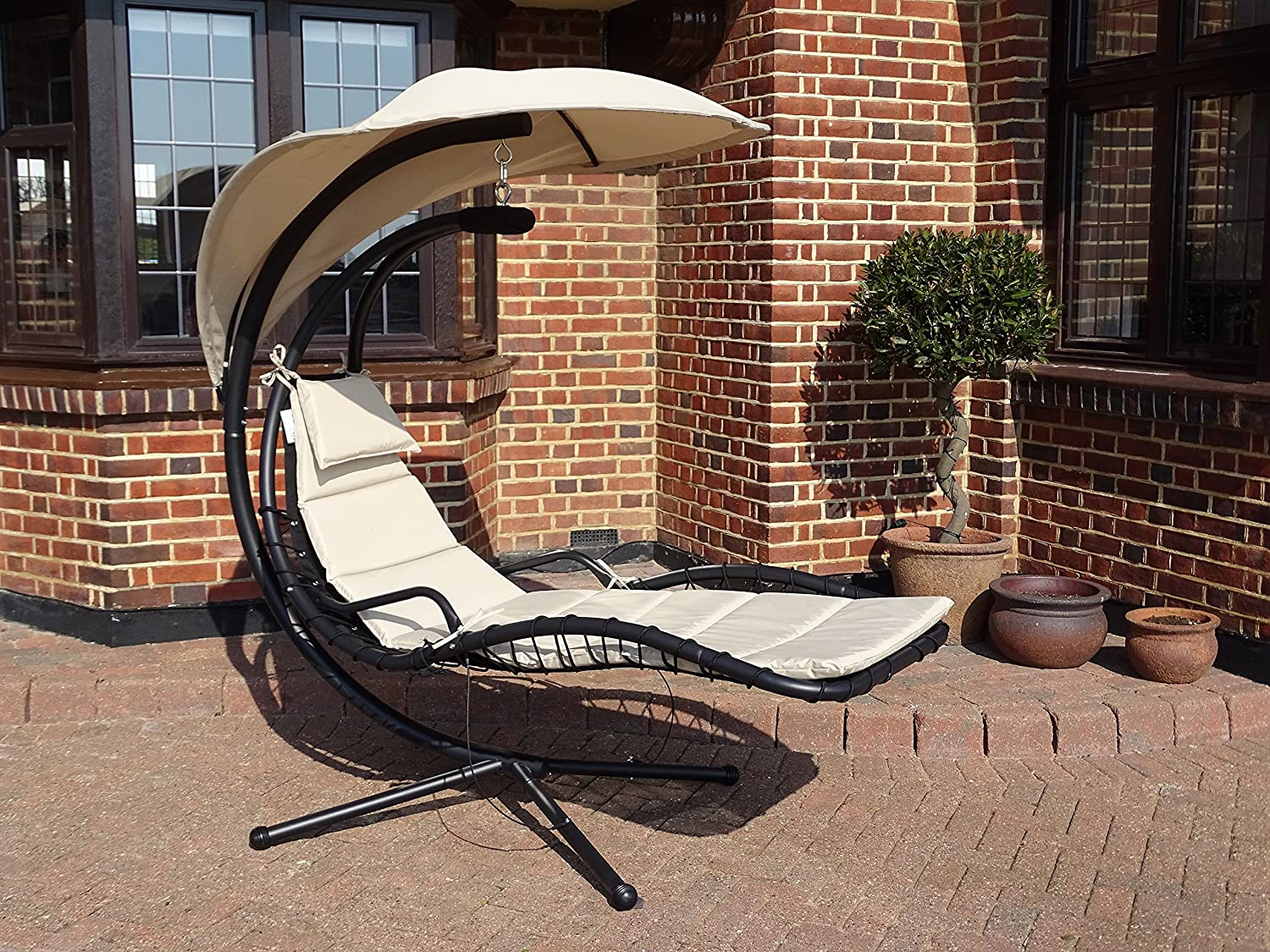 helicopter dream chair swing hammock replacement spare cushion in black or beige black amazoncouk garden outdoors