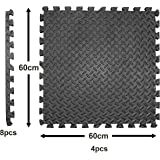 Edukit EVA Foam Mat; 4 Pieces and 8 Edges; 61.5 x 61.5cm; 2cm Thick; Black; Interlocking Puzzle Floor Tiles – Thicker…