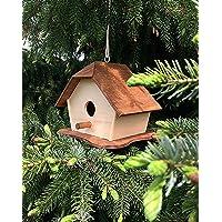 Casetta per uccelli, mangiatoia per uccelli in legno con sportello di ispezione sul retro, arredo da giardino.