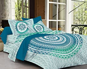 Fabsom Traditional Ombre Mandala Printed 144 TC Cotton Double Bedsheet with 2 Pillow Covers King Size - Floral, Sea Green